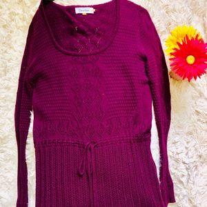 Calvin Klein Plum Drawstring Waist Tunic Sweater